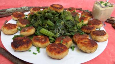 Recette Assiette de boulettes de dinde avec blette à la vapeur
