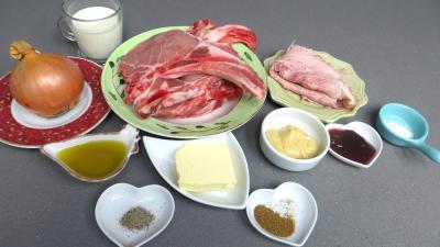 Ingrédients pour la recette : Côtes de porc à la moutarde