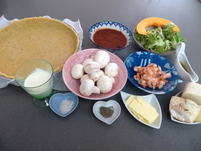Ingrédients pour la recette : Tarte aux crevettes et chou romanesco