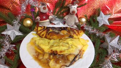 Oeufs : Omelette à la banane caramélisée