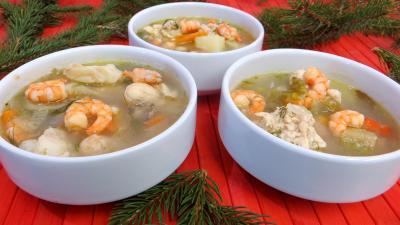entrée à base de poisson : Soupe de crevettes