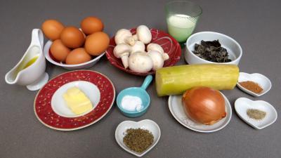 Ingrédients pour la recette : Omelette farcie aux champignons
