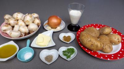 Ingrédients pour la recette : Purée de champignons