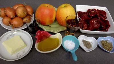 Ingrédients pour la recette : Foies de volaille aux pommes