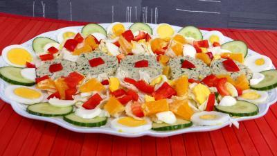 entrée à base de poisson : Reste de perche en salade