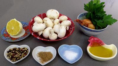 Ingrédients pour la recette : Champignons au citron