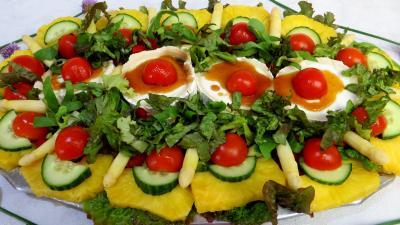 asperge : Salade de chèvre au caramel