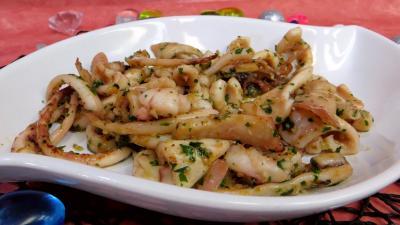 plat sucré salé : Plat de calamars à la marinière