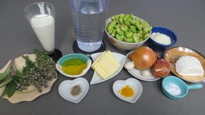 Ingrédients pour la recette : Velouté de fèves au chèvre frais