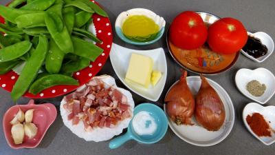 Ingrédients pour la recette : Fricassée de pois gourmands