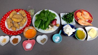 Ingrédients pour la recette : Croustillants de pommes de terre à l'oseille et crevettes
