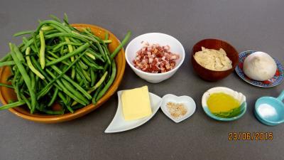 Ingrédients pour la recette : Haricots verts aux amandes
