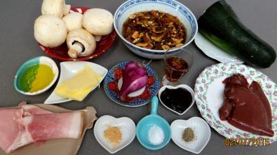 Ingrédients pour la recette : Jambon et foie de veau aux champignons