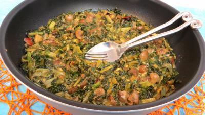 plat complet : Sauteuse de bettes aux anchois et rognons
