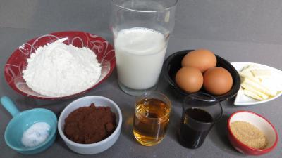 Ingrédients pour la recette : Crêpes au cacao