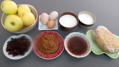 Ingrédients pour la recette : Tarte aux pommes et raisins secs