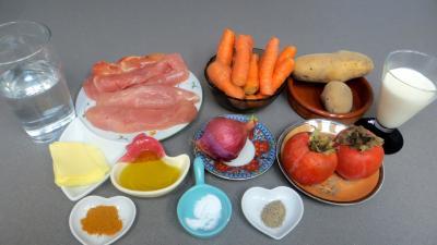Ingrédients pour la recette : Emincé de dinde au kaki