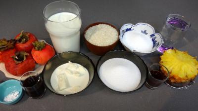 Ingrédients pour la recette : Verrines de kakis au riz