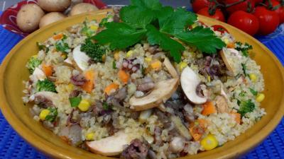 salades composées : Plat de boulgour à la menthe et au persil