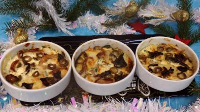 champignon des bois : Cassolettes de flans de cabillaud