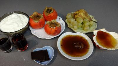 Ingrédients pour la recette : Kakis au fromage blanc et à l'amaretto