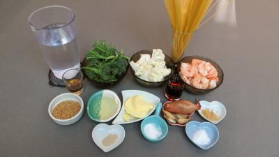 Ingrédients pour la recette : Cappellini aux crevettes