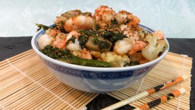 chou-fleur : Cappellini aux crevettes