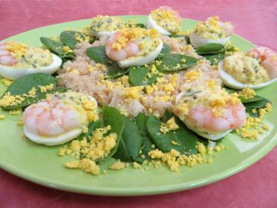 chou-rave : Oeufs mimosa aux crevettes