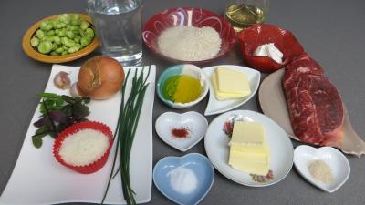 Ingrédients pour la recette : Risotto au safran et aux fèves