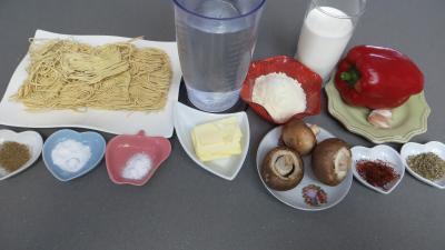 Ingrédients pour la recette : Nouilles chinoises à la crème de safran