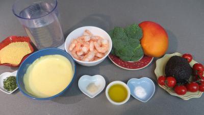 Ingrédients pour la recette : Couscous à la mangue et aux gambas