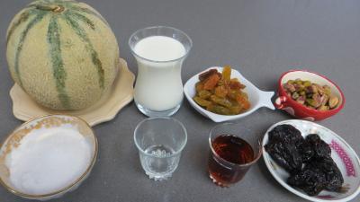 Ingrédients pour la recette : Salade de melon au caramel