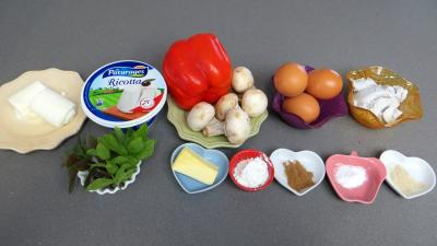 Ingrédients pour la recette : Flans aux poivrons et champignons