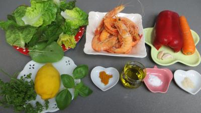 Ingrédients pour la recette : Gambas en salade