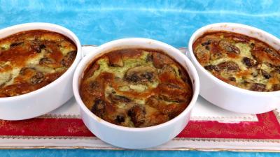 champignon conserve : cassolettes de flans au roquefort