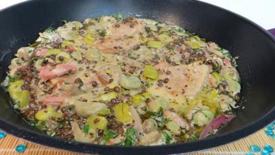 Porc : Wok de lentilles à la sauce moutarde