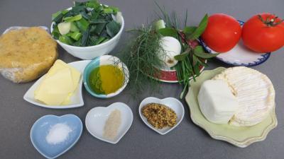 Ingrédients pour la recette : Tarte de tomates et de camembert