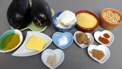 Ingrédients pour la recette : Aubergines au couscous