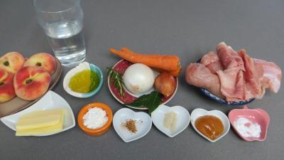 Ingrédients pour la recette : Blancs de poulet aux pêches