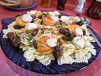 jus de morilles : Assiette de coquilles saint-Jacques aux farfalle