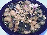 haricots à écosser : Assiette de haricots blancs façon carbonara