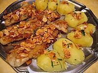 Recette Plat de filets de flétan aux amandes