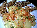 cancoillotte : Salade tiède de gambas à la cancoillotte