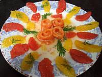 entrée à base de poisson : Assiette de saumon à l'orange