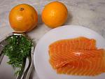 Ingrédients pour la recette : Saumon à l'orange et pomélo