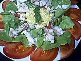 vinaigre de cidre : Assiette de salade au cabillaud