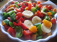 Recette Assiette de poivrons et abricots en salade