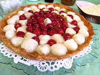 tarte aux litchis et aux framboises
