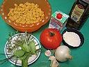 Ingrédients pour la recette : Pâtes sauce aux herbes