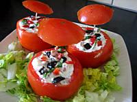 Image : Assiette de tomates farcies aux fromages